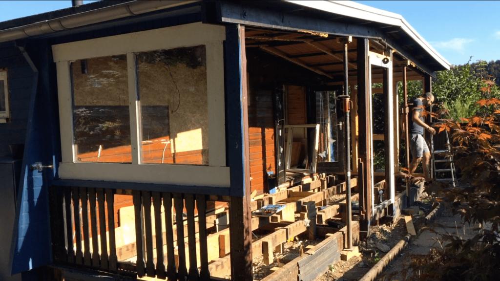 Vorbau Fassade abreißen Mobilheim Sanierung